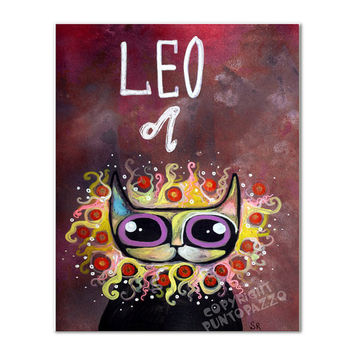 Zodiac sign Leo,gift,cat decor,artwork on paper,Acrylic paint & watercolors,funny gift for pet lovers,5.82 x 7.7 inches