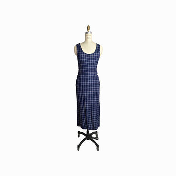 Vintage Windowpane Check Summer Dress in Navy Blue  / 90s Minimalist Dress / Crinkle Dress - women's medium/large