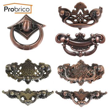 Probrico Furniture Antique Drawer Knob Zinc Alloy Brushed Copper Or Antique Bronze Vintage Kitchen Cabinet Handle Cupboard Pull