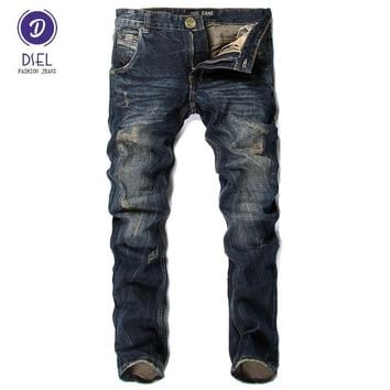 Italian Style Men Jeans DSEL Brand Slim Fit Stripe Jeans Mens Pants Fashion Street Biker Jeans Men Retro Vintage Design Trousers