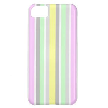 Vertical Stripes Pastel Mint Pink Yellow Gray Grey iPhone 5C Cover