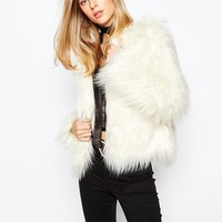 First & I | First & I Faux Fur Collarless Jacket at ASOS
