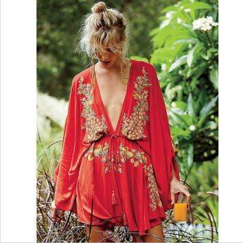"""Free People"" Fashion  Ethnic Embroidery Deep V Bat Sleeve Loose Mini Dress"
