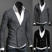 Double Breasted Men's Fashion Knit Cardigan SOS