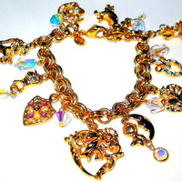 Medieval Knights & Hearts Charm Bracelet Kirks Folly, Gold Rhodium, High End Signed