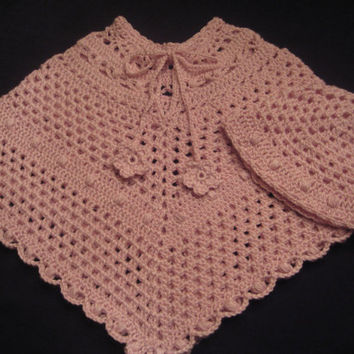 Girl's Poncho Hat Set Crocheted Pink SZ 18 by ButterflyKissesLLC