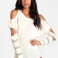 No Mistakes Studded Cutout Sweater by Reverse - $59.00 : ThreadSence, Women's Indie & Bohemian Clothing, Dresses, & Accessories