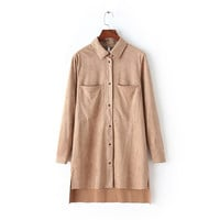 Casual Doll Collar Big Front Pocket Button Down Long Sleeve Khaki Midi Dress