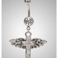 14 Gauge Wings Cross Clear Gem Banana Belly Button Ring