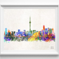 Toronto Skyline, Canada Print, Watercolor, Ontario Poster, Cityscape, City Painting, Illustration, Art Paint, Wall, Home Decor [NO 413]