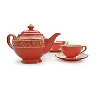 Ruby Filigree Red Bone China Tea Set at Teavana