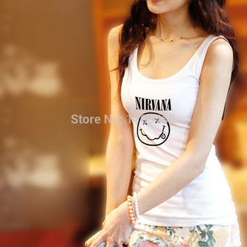 Famous Rock Band Women Tank Tops Tight Unique Logo Printing Nevermind Shirts Sleeveless Clothing Sexy Female Fashion Vests
