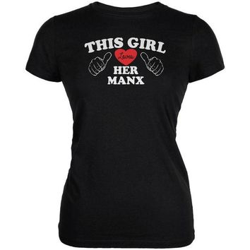 DCCKJY1 Valentines This Girl Loves Her Manx Black Juniors Soft T-Shirt