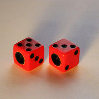 Valve Cap Dice Set: Bright Red with Black Dots ~ Tire Caps for Bicycle, BMX, Motorcycle, Car,