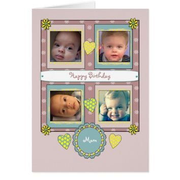 Mom Birthday Photo Card Floral hearts