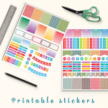 50% OFF SALE Printable Planner Stickers Crosshatch Stickers Erin Condren Box Stickers Page Flags Weekend Banners To Do Stickers Weekly Kit