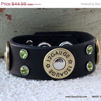 "1"" Black Leather Bracelet with Green Crystals and Shotgun Shell Gauge Conchos"