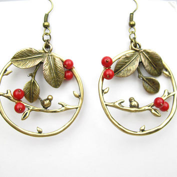 "antiqued vintage leaf bird branch red coral beaded beadwork wire wrapped earrings 1.5"" for diameter hoop"