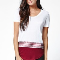 Young & Reckless Come Thru Linear Short Sleeve T-Shirt - Womens Tee - White/Burgandy