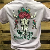 Southern Chics She Who is Brave is Fierce Cow Skull Feathers Girlie Bright T Shirt