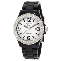 Invicta 1633 Women's Angel Collection Black Plastic White Dial Crystal-Accented Watch