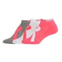 Under Armour Womens Power in Pink No Show Socks 3 Pack U353-CER/AST-MD
