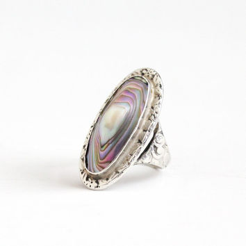 Vintage Sterling Silver Blister Pearl Ring - Size 3 3/4 Floral Flower Etched Art Deco 1940s Colorful Statement Oval Jewelry