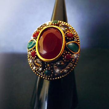 Vintage Indian Ruby ring, bohemian ring, gemstone ring, gypsy ring, huge boho ring, antique gypsy ring, gold nepalese ring, OOAK