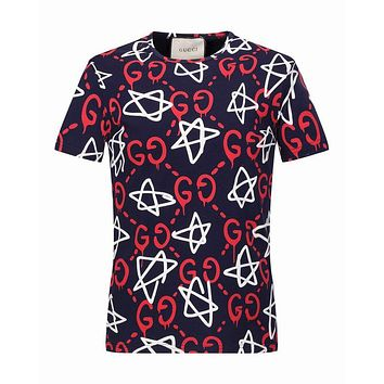 GUCCI Donald Duck Embroidery men and women Pure cotton short-sleeved T-shirt top