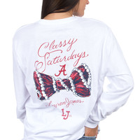 Lauren James: Alabama Classy Saturday Long Sleeve Tee {White}