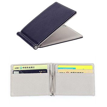 Ultra Thin Wallet PU Leather Silver Clips Solid Thin Purse