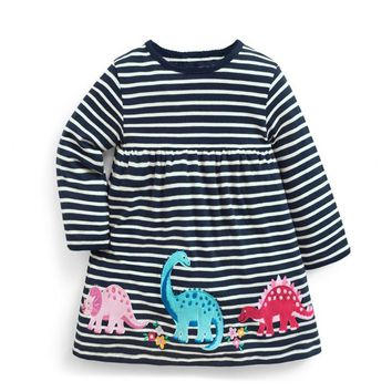Jumping meters Dinosaur baby dresses girls autumn clothing applique animals autumn kids dresses long sleeve stripe child dress