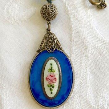 Art Deco Necklace, Blue Glass Pendant, Guilloche Panel, Glass and Moonstone Beads, Silver Filigree
