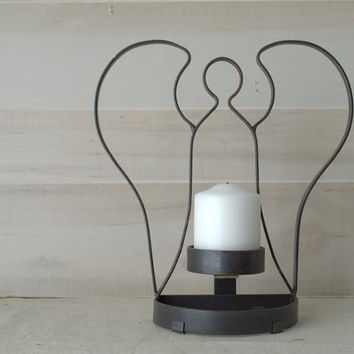 Rustic Black Wrought Iron Angel Candle Holder, Handmade Iron Candle Holder