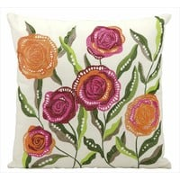 Nourison Mina Victory 18-inch Embroidered Flowers Indoor/Outdoor Throw Pillow