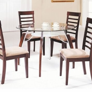 5 pc martini collection cherry finish wood and metal dining table set with round glass top