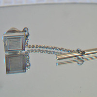Vintage Swank Tie Bar Pin Silver Tone Men's Fashion Accessories For Him