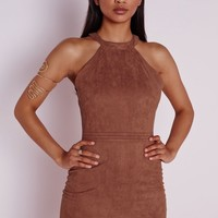 Missguided - Faux Suede Topstitch Bodycon Dress Tan