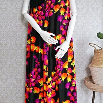 Vintage 1960s Hawaiian + Floral Maxi Tent Dress