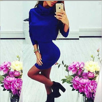 Solid Sexy Turtleneck 2 Piece Knitted Women Dress