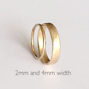 Two Organic Shape Gold Rings - Wedding Ring Set - Two Textured Bands  - 18ct Gold Molten Ring - Men's Women's - Couples - Unisex - Unique