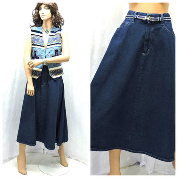 Vintage 80s high waisted denim skirt M 1980s long jean full skirt dark denim high waist maxi denim skirt size 7 / 8 SunnyBohoVintage