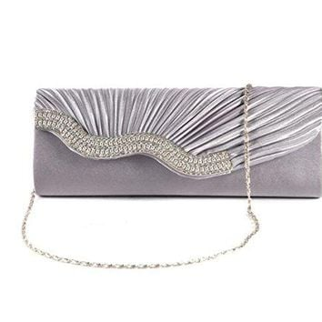 Nodykka Wedding Pleated Clutches Bag Rhinestone Embellished Evening Cross Body Handbags Purse