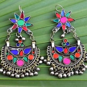 Kuchi Earrings Tribal Crescent Star Pendant Ethnic Dance Jewelry Bohemian Boho