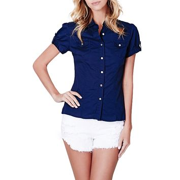 Cotton Short Sleeve Button Down Shirt