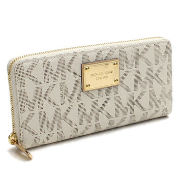 Michael Kors (MICHAEL KORS) JET SET ITEM length wallet large zip around 32S12JSZ3B VANILLA white series( taxfree/send by EMS/authentic/A brand new item )