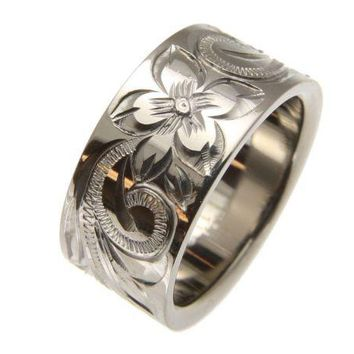 TITANIUM HAND ENGRAVED HAWAIIAN PLUMERIA SCROLL BAND RING 10MM