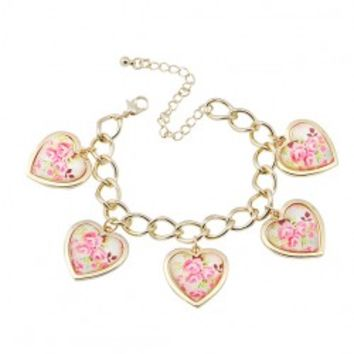 Heart Shape Floral Decorate Alloy Bracelet