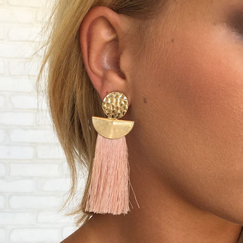 Elle Stamped Gold Earrings in Blush