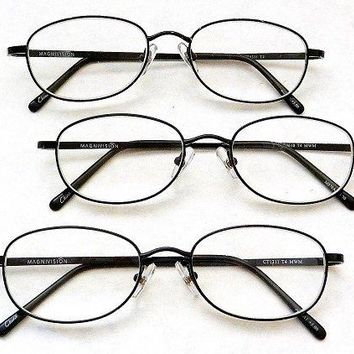 (3 PACK + BONUS) Magnivision +2.00 TITANIUM (T4) Black Oval Metal Wire Rim Reading Glasses + 1 FREE BONUS TRAVEL GLASS POUCH & 1 MICRO-SUEDE CLEANING CLOTH by Foster Grant